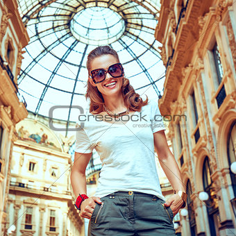 Portrait of smiling fashion monger in Galleria