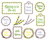 Calligraphy quote hello spring with willow branches circle wreath or frame. Handwritten lettering on white background isolated, modern brush pen lettering Vector illustration stock vector.