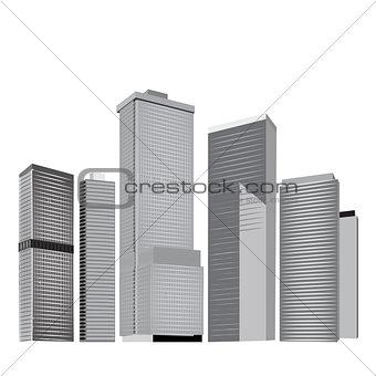 City skyline in grey colors.