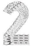 Number two Zentangle. Vector decorative number