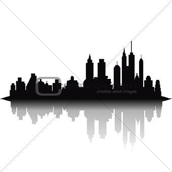 Skyline city on white background