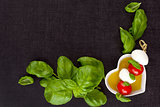 Culinary caprese background.