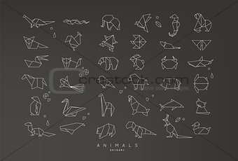 Animals flat origami set