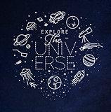 Flat explore universe monogram blue