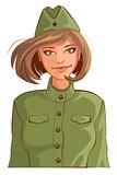 Russian woman retro soldier