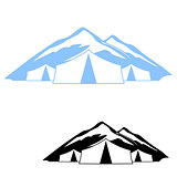 Set of logos of tents in the mountains