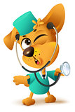 Yellow dog doctor vet keeps stethoscope