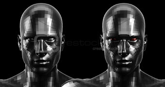 3d rendering. Two faceted black android heads looking front on camera