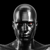 3D rendering. Faceted black robot face with red eyes looking front on camera.