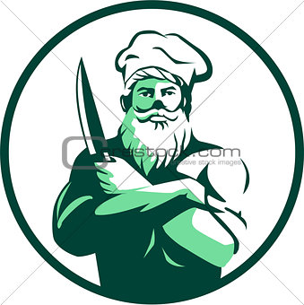 Bearded Chef Arms Crossed Knife Circle Retro
