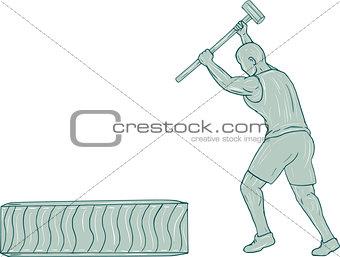 Fitness Athlete Sledge Hammer Striking Tire Drawing