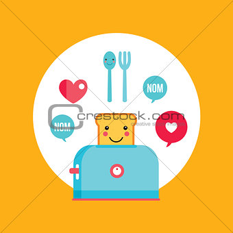 Toaster and funny toasted bread with cute smile Cartoon character