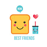 Cute toast bread Funny Cartoon character and drink Perfect breakfast