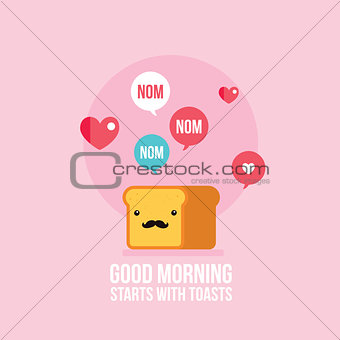 Cute toast bread loaf with mustache Cartoon character