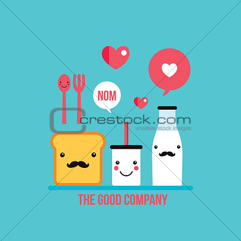 Food Drink cartoon characters Milk Glass and Bottle Toast bread