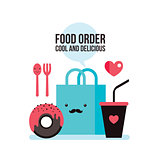 Delicious donut Coffee Shopping bag Online food order flat design