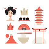Japan icons set Asia design elements collection
