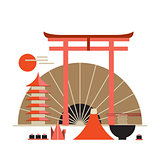Asia design elements collection Welcome to Japan banner