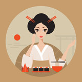 Beautiful Japan Travel banner with Geisha Sushi Origami and Noodles