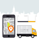 Dlivery of cargo - location tracker app and mobile gps navigatio