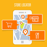 Store locator tracker app and mobile gps navigation