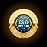 ISO 22000 standard medal - Food safety management