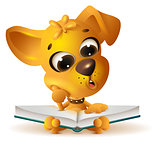 Yellow dog reading open book
