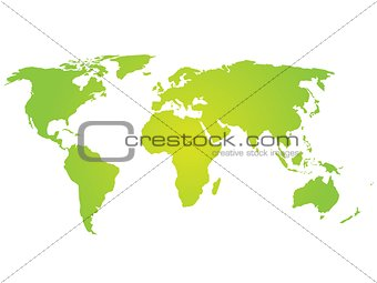 Green silhouette of world map