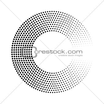 Abstract ring of black dots. Halftone effect with gradient. Modern design vector background
