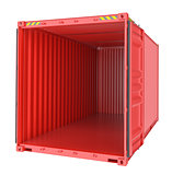 Freight shipping, open empty cargo container