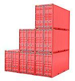 Stacked red cargo containers over white