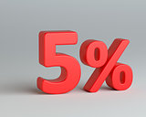 Red five number with percentage sign