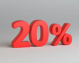 Red twenty percent sign on gray background