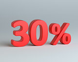 Red thirty percent sign on gray background