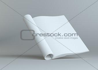 Blank open paper brochure on grey background