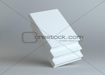 Blank three empty books on grey studio background