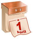 1 April Fools Day. Tear-off calendar sheet