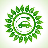 Eco car inside the leaf background