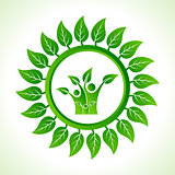 Eco family inside the leaf background