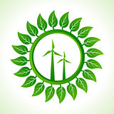 Eco wind mill inside the leaf background
