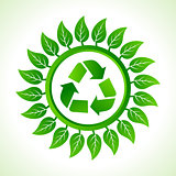 Recycle icon inside the leaf background