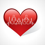 Heartbeat make family icon inside the heart