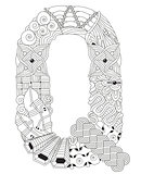Letter Q for coloring. Vector decorative zentangle object