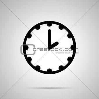 Clock simple black icon