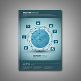 Brochures book or flyer with abstract network connection template