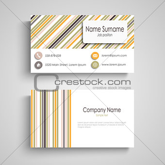 Business card with colorful retro stripes template