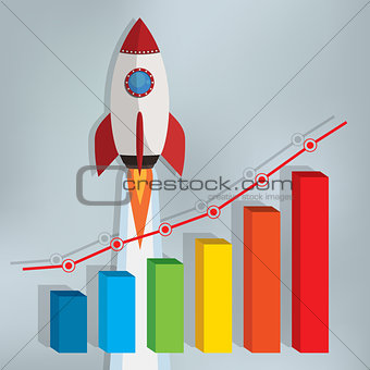Business chart with a rocket going up.