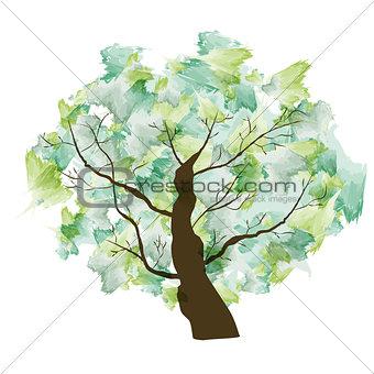 Green Summer Paint Textured Art Tree. Vector Illustration