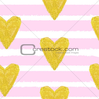 Abstract Hand Drawn Heart Love Seamless pattern Background Vecto