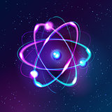 Blue Shining atom Abstract Technology dark background